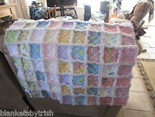 HANDMADE BABY GIRL RAG QUILT REVERSIBLE FLANNEL HANDS DOTS TURTLE FLOWERS
