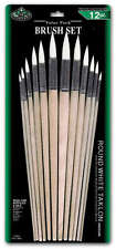 12 ROUND STIFF WHITE TAKLON LONG HANDLE ARTIST PAINT BRUSH SET RSET-9606