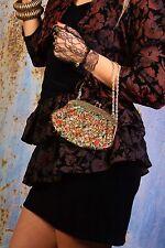 Vintage black gold red & green lurex threaded evening bag clutch bag