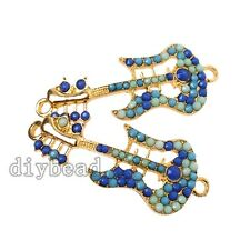 5pcs Adorable Blue Rhinestone UV Gold Guitar Alloy Connector Pendants Findings D
