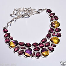 "Faceted ametrine purple amethyst necklaces .925 silver 18"" free shipping 104gram"
