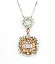 UNIQUE 14K TRI COLOR GOLD Semi Mount Diamond Pendant Setting Necklace for 6 mm