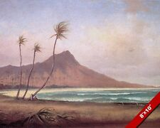 WAIKIKI BEACH HONOLULU OAHU ISLAND HAWAII 1800'S PAINTING ART REAL CANVAS PRINT