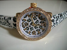 DESIGNER ANIMAL PRINT LEATHER BAND WITH GOLD TRIM FASHION WATCH