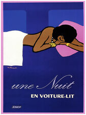 "11x14""Decoration Poster.Interior room design art.Une Nuit Voiture lit.6629"