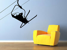 "Winter Skier Ski Lift Vinyl Wall Decal for Home Decor 28"" x 33"""