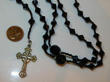 Onyx Black Color Faceted Plastic Crystal Bead Rosary Silver Cross Necklace 4j 2