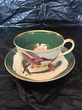 SUSIE COOPER BONE CHINA ENGLAND CUP & SAUCER FLOWER ON GREEN GOLD BAND