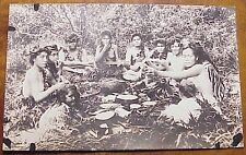 1920's Native Wahine & Keiki Luau Guitar Bare Breasted TH Hawaii AZO RPPC