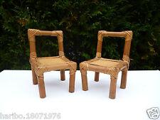 �� Deux petites Chaises En Rotin Pour Poupée Vintage