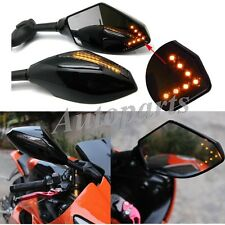PAIR MOTORCYCLE LED TURN SIGNAL INTEGRATED INDICATOR REARVIEW RACING BIKE MIRROR