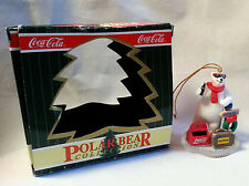 Coca Cola Polar Bear Ornament 1996 Hollywood Suitcase NorthPole Sign Resin 3.5""