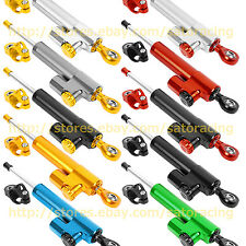 Silver CNC Steering Damper Motorcycle Stabilizer Linear Reversed Safety Control