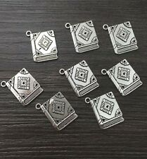 Jewelry Findings,Charms,Pendants,Tibetan Silver 4pcs Book spell witchcraft*.