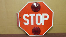 "Used Vintage Aluminum ""STOP"" Sign with 4 Large Reflectors Street Traffic  S6"
