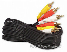 2 Pack Lot - 15FT Triple 3 RCA Red White Yellow Composite Audio Video Cable Gold