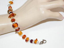 "Sterling Silver Art Glass bead Golden Brown Autumn Color 8"" Bracelet 10d 57"