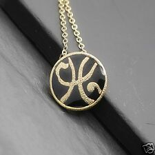 Urban Trend Scroll Initial Letter H Black Enamel Disc Gold Pendant Necklace