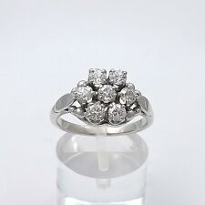 Art Deco 14k White Gold 1ctw Old European Cut Diamond Halo Flower Cluster Ring