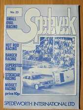 Stock Car Racing Programme Spedeworth Spedeweek No 23 July August 1976 Aldershot