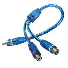 1 RCA Male To 2 Female Splitter Y Adapter Stereo Audio Cable Wire Connector 0.3m