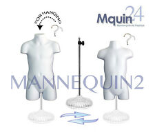 A SET OF CHILD & TODDLER BODY FORMS * WHITE HARD PLASTIC  +1 STAND +2 HANGERS