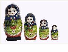 CROSS STITCH KIT -  RUSSIAN DOLLS  19 X 13 CM