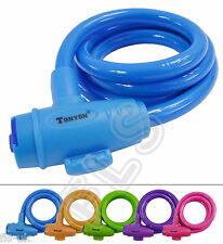 BICYCLE MOTORCYCLE BIKE SPIRAL STEEL CABLE SECURITY LOCK WITH 2 KEYS - BLUE