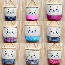 FD2815 Cat Linen Wall Door Hanging Storage Bag Organizer Makeup Gadget Bag 1pc♫