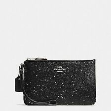 COACH BOXED CORNER ZIP BLACK STAR GLITTER FABRIC WRISTLET CLUTCH PURSE $85