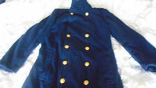 Authentic WW2 US Navy USN Military Wool Long Officers Bridge Over Coat Trench