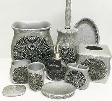 NICOLE MILLER 9 PC SET SILVER RESIN SOAP DISPENSER+DISH+TRASH CAN+TUMBLER+TRAY+4
