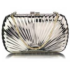 CLUTCH hand BAG WEDDING EVENING hard shell case with shoulder chain 294 gold