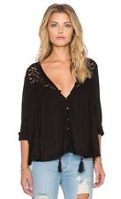 """NWT Free People """" Doin It Right"""" Lace Crochet  Black Blouse Shirt Top Bead"""