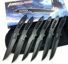 "6pc 5.5"" NINJA Tactical COMBAT RANGER Black Throwing Knife Hunting DAGGER"