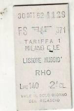 BIGLIETTO  FERROVIARIO MILANO CENTRALE LISSONE  MUGGIO'   EDMONSON   30-10-1962