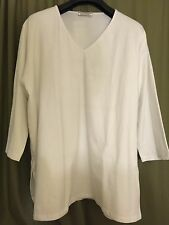 TRANSPARENTE EUROPEAN PLUS JERSEY 3/4 SLEEVE PULLOVER SLIT BLOUSE SHIRT WHTE O/S