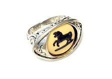 Wedgwood Ring - Jasperware Cameo Set Onto Antiqued Silver Plated Adjustable Ring