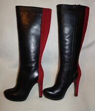 ROBERTO BOTELLA  Combined knee high boots  black red sz 36 new