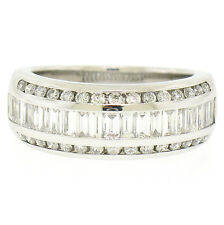 14k White Gold 1.4ctw E VS1 Baguette & Round Channel Set Diamond Wide Band Ring