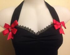 Halter top   Rockabilly Sexy Pin-up Style   diamonte skulls & red bows size XXL