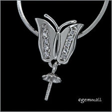 Sterling Silver CZ Butterfly Pendant Connector Bail with Cup Pin 1pc #97259