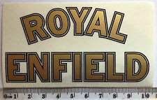 ROYAL ENFIELD gold sticker decal 105mm x 60mm. Clear backing