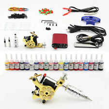 Tattoo Kit Coils Machine 20 Inks Needles Power Supply Grips Tips Clip Cords