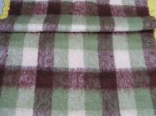 Authentic Mohair Throw Burgundy Green Plaid Glen Cree Made in Scotland EXCELLENT