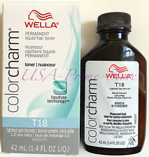 NEW! Wella Color Charm Liquid Toner #T18 Lightest Ash Blonde, 42 ml.  #UK SELLER