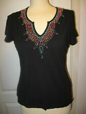 LADIES SIZE 12 KALEIDOSCOPE BLACK STRETCHY BEADED TOP