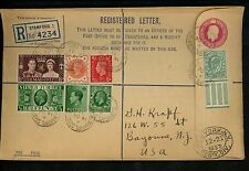 Postal History Great Britain H&G #C58b Registered 1937 Stamford to Bayonne NJ