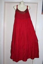 NWOT AUTOGRAPH BLOOD RED LONG MAXI DRESS WITH GORGEOUS BRONZE BEADING SIZE 14