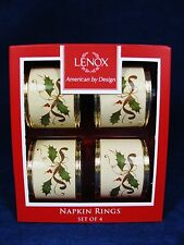 LENOX American by Design Holiday Christmas NAPKIN RINGS Holly Berry Set of 4